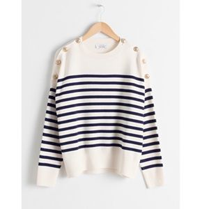 & Other Stories Striped Knit Crew Neck Sweater NWT